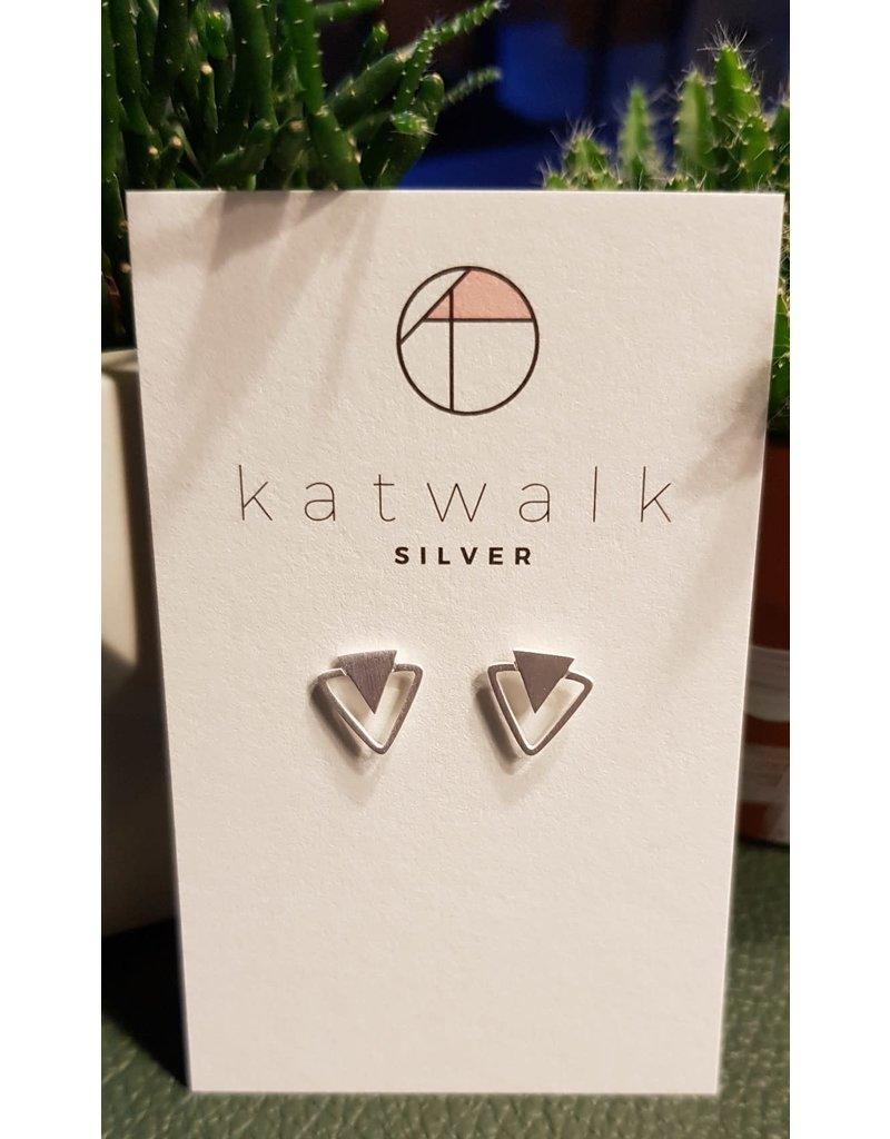 Katwalk Zilver Zilver oorstekers - volle driehoek in driehoek