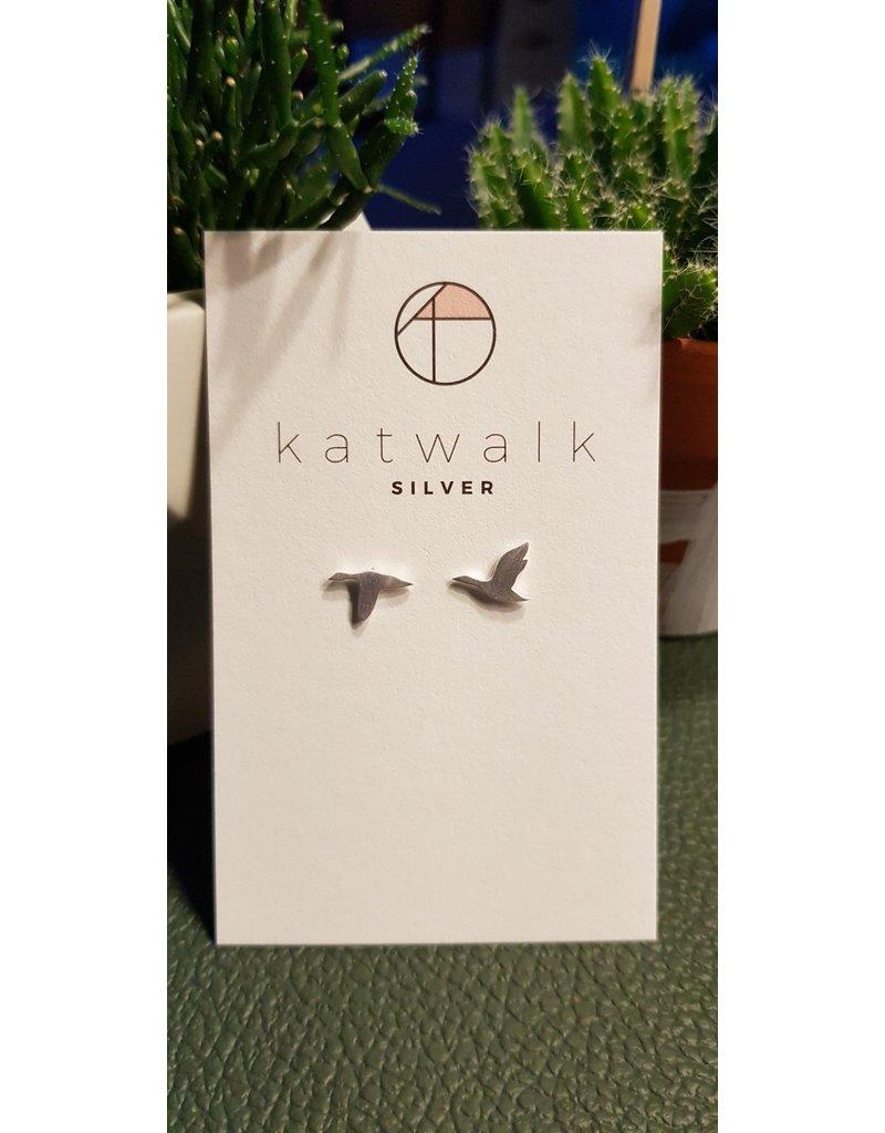 Katwalk Zilver Zilver oorstekers - vogels in de vlucht
