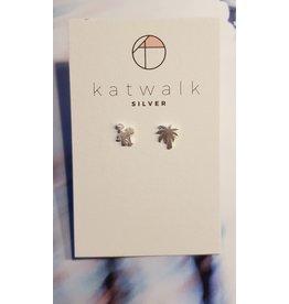 Katwalk Zilver Zilver oorstekers -  Aapje en palmboom
