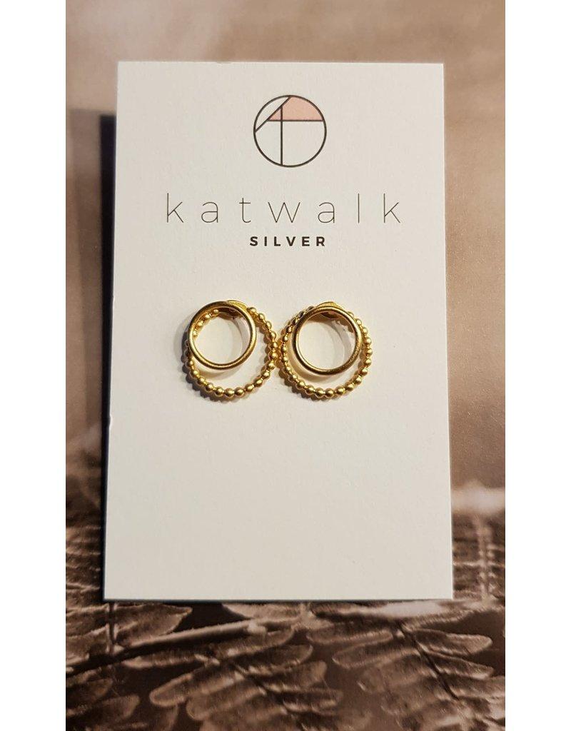 Katwalk Zilver Verguld zilver oorstekers - ring op dotted ring
