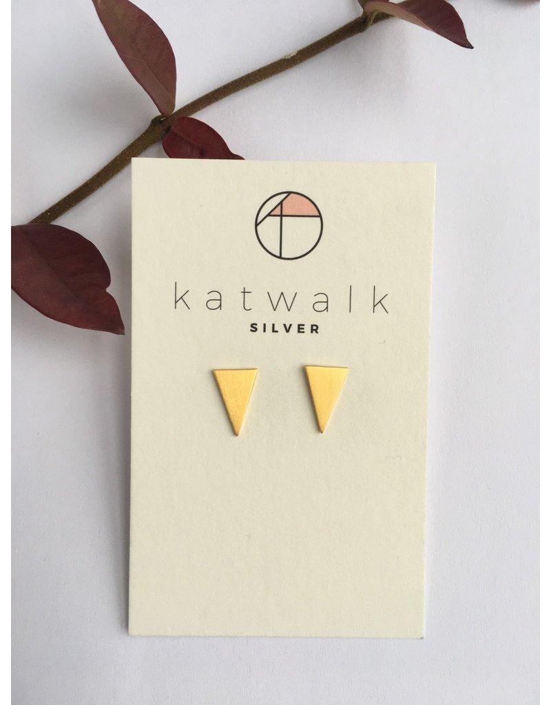 Katwalk Zilver Verguld zilver oorstekers - volle gelijkzijdige driehoek