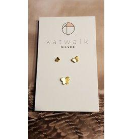 Katwalk Zilver Verguld zilver oorsteker - Trio van vlinders
