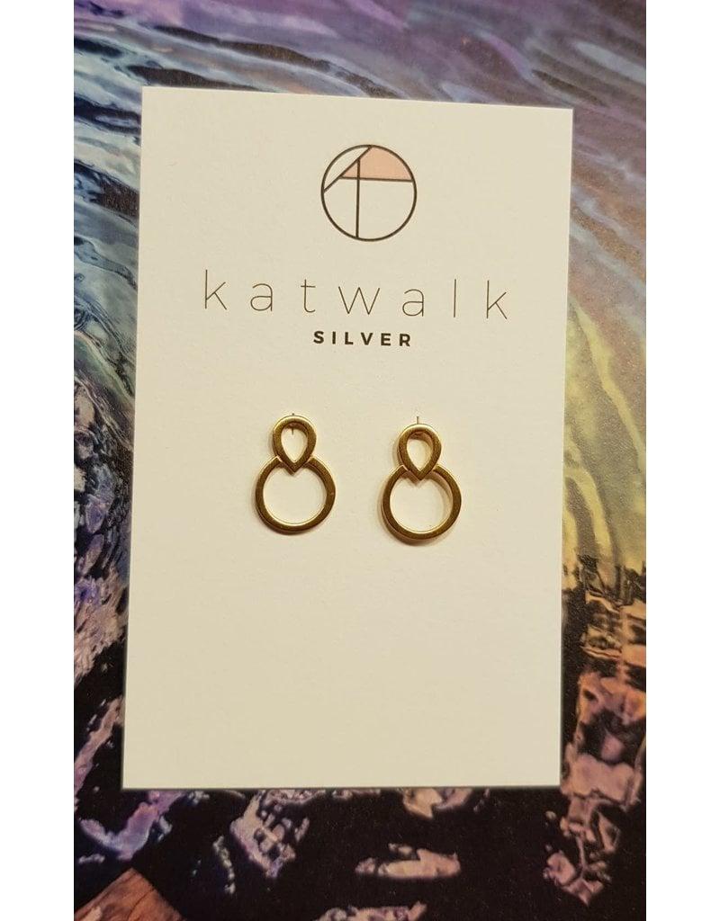 Katwalk Zilver Verguld zilver oorsteker - omgekeerde drup in ronde