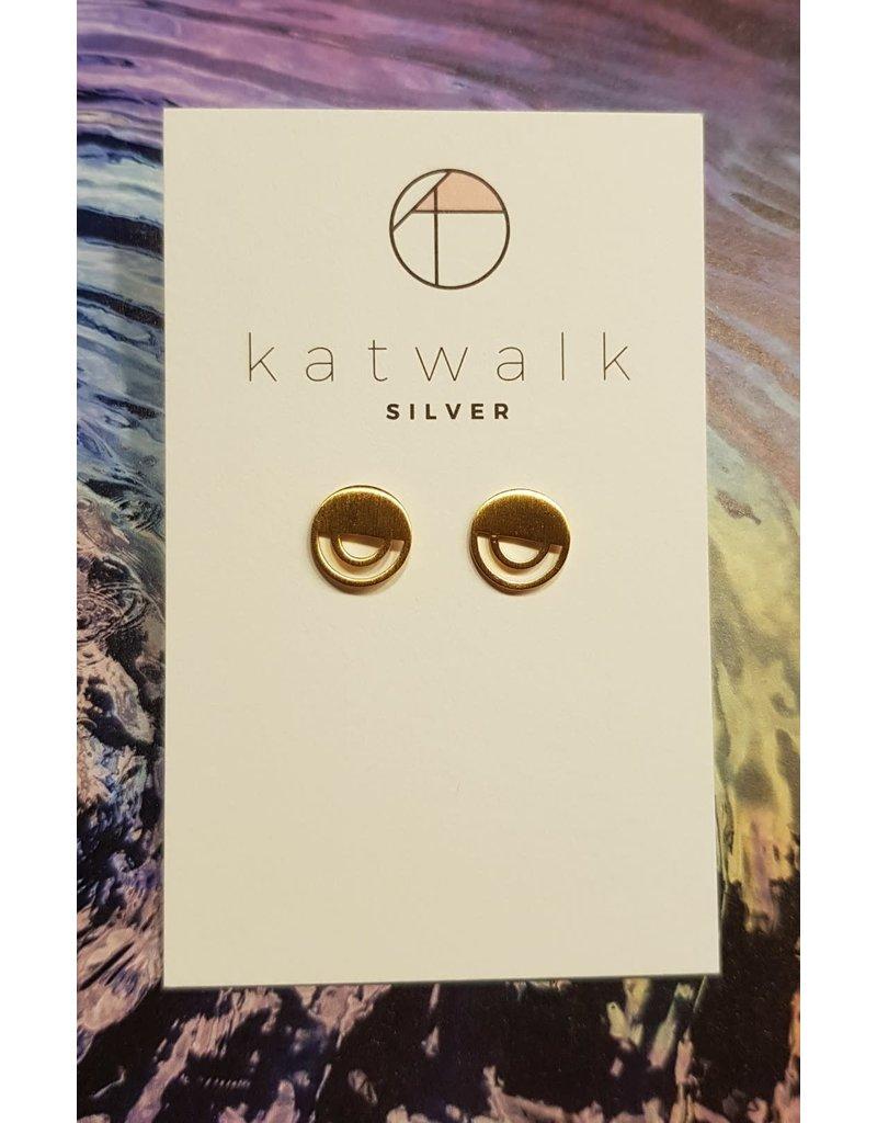 Katwalk Zilver Verguld zilver oorstekers - ronde arc