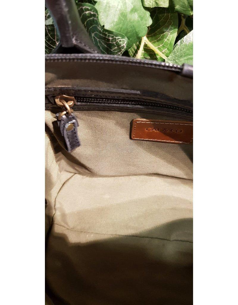 CAT & CO Zwart lederen handtasje met afneembare schouderriem