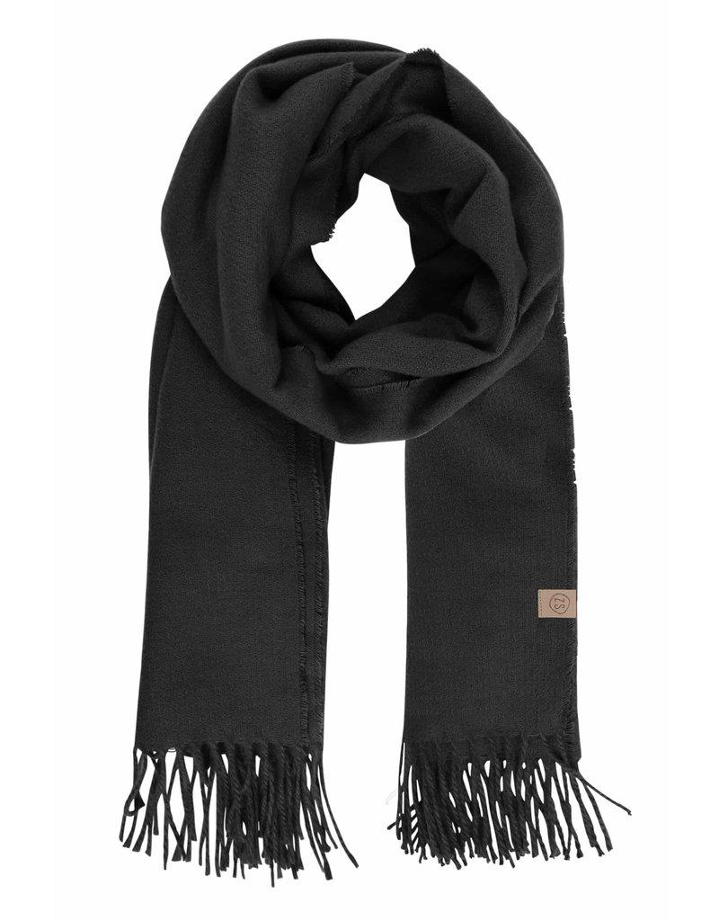 Zusss Basic sjaal met franjes - zwart