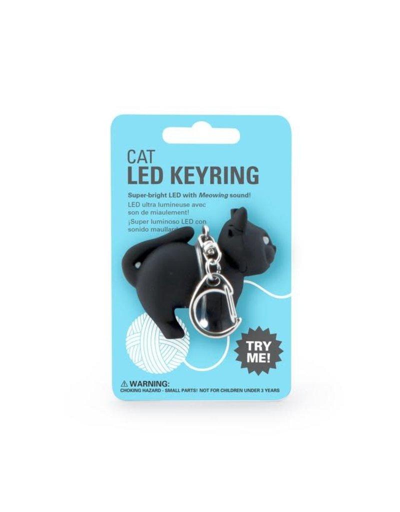 kikkerland Sleutelhanger - ledlampje met geluid - Kat