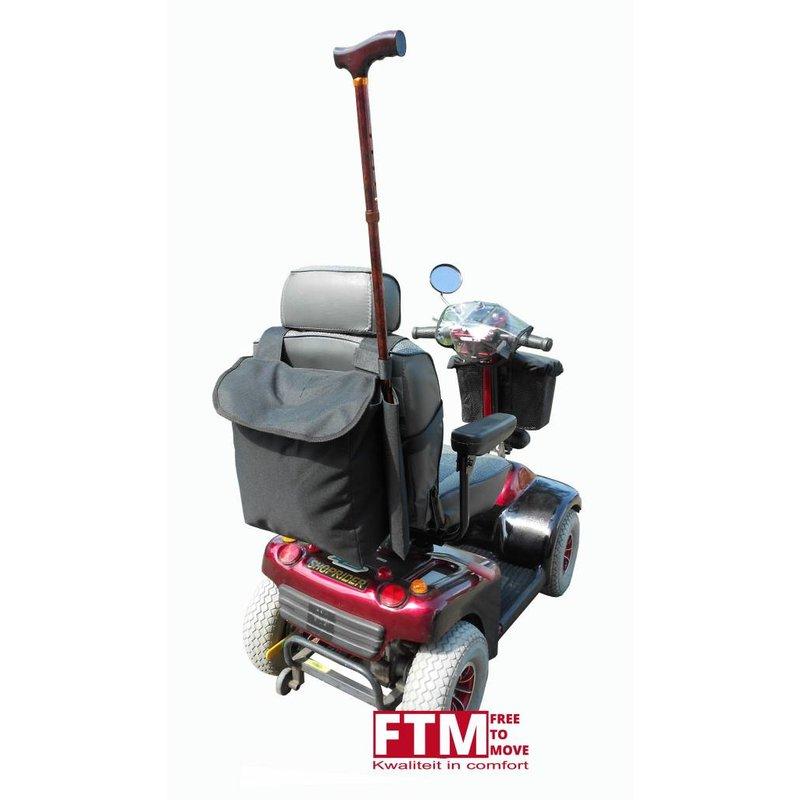 Scootmobiel tas met vak voor wandelstok of loopkruk
