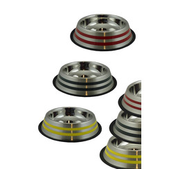 RVS voerbak met kleurstrips 1,5L