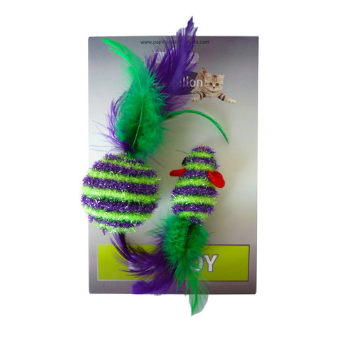 Papillon Groen paarse muis speelgoedje