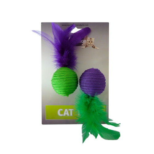 Papillon Green and purple ball of wool toys