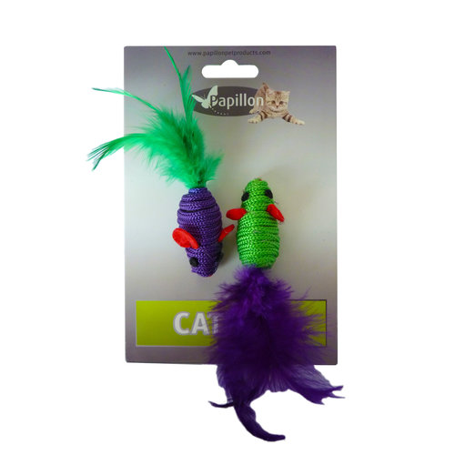 Papillon Purple and green mouse toys
