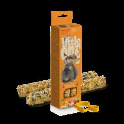 Little One knabbelsticks voor hamsters, ratten, muizen en woestijnratten met fruit en noten, 2x60 g