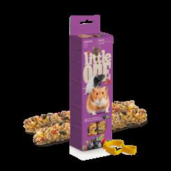 Little One knabbelsticks voor hamsters, ratten, muizen en woestijnratten met bessen, 2x60 g