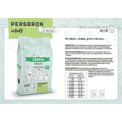 Jarco Jarco dog classic persbrok adult 2-100kg kip 15 kg