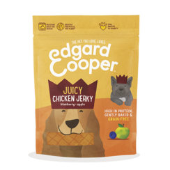 Edgard & Cooper jerky kip/blauwe bes/appel 150 gr