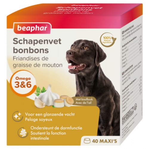 Beaphar Schapenvet Bonbons Knoflook maxi  (hondensnack) 245g