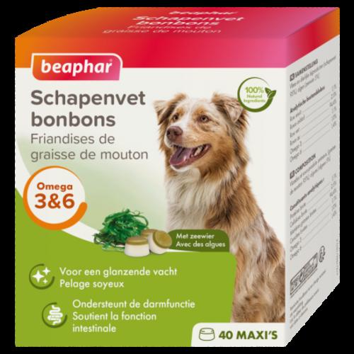 Beaphar Schapenvet Bonbons Zeewier maxi  (hondensnack)