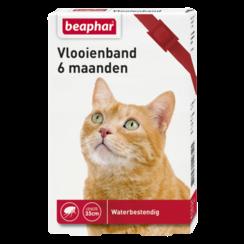 Vlooienband 6mnd kat rood