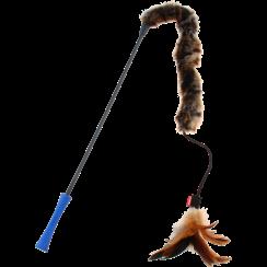 FEATHER TEASER Kattenhengel met pluchen staart Blauw