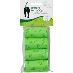 Mr.POOP GREEN! Navullling poepzakjes 4 Rolletjes-Groen motief