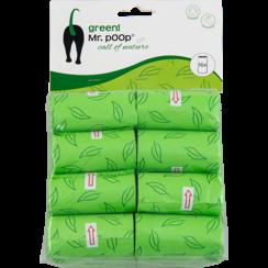 Mr.POOP GREEN! Navullling poepzakjes 16 Rolletjes-Groen motief