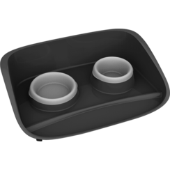 JV PLASTICS Stella Tray with 2 Bowls Grey-0,25+0,30L 47x33x11,5cm