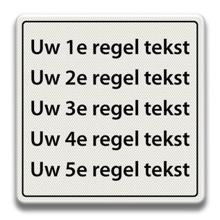 Tekstbord wit/zwart - 5 REGELS 600 x 600 mm