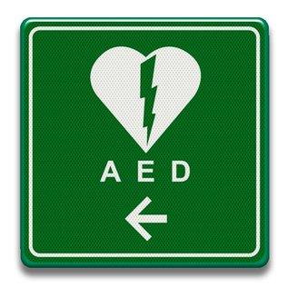 Verkeersbord AED Defibrillator met pijl