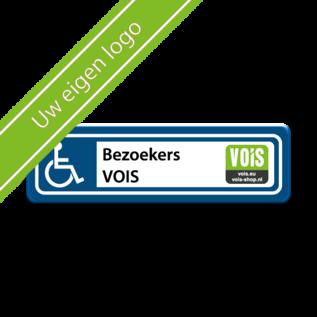 Parkeerplaatsbord Invalide Eigen tekst en logo 500 x 150 mm