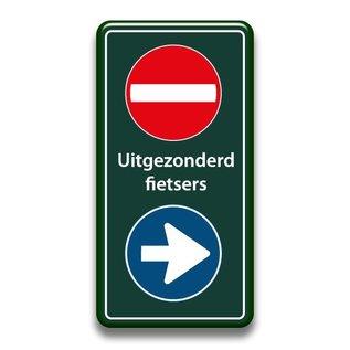 Verboden toegang bord+richting eigen tekst 400 x 800 mm