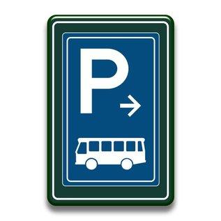 Parkeerbord bussen met of zonder pijl 400 x 600 mm