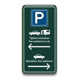 Parkeerbord inchecken en bezoekers