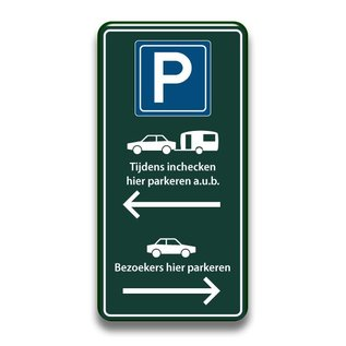 Parkeerbord inchecken en bezoekers 400 x 800 mm