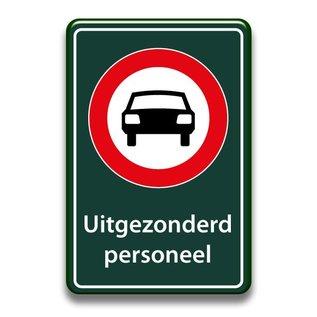 Verboden auto's bord uitgezonderd 400 x 600 mm