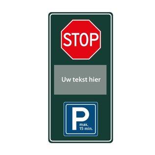 Stopbord parkeren eigen tekst 400 x 800 mm