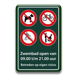 Zwembadbord verboden hond+fiets+glas+schoenen
