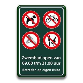 Zwembadbord verboden hond+fiets+glas+schoenen 400 x 600 mm