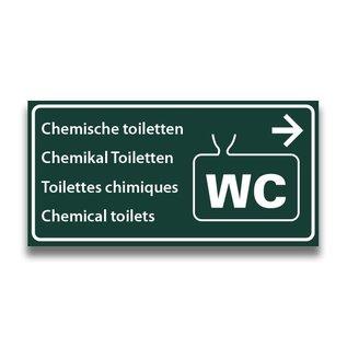 Toiletbord chemisch toilet met pijl naar rechts
