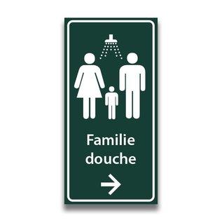 Toiletbord familiedouche met tekst en pijl
