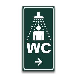 Toiletbord sanitairgebouw met pijl