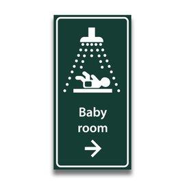 Toiletbord babyroom met pijl