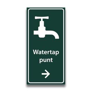 Toiletbord watertappunt met tekst en pijl