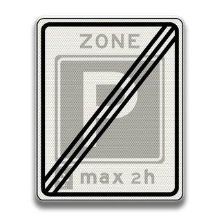 Verkeersbord RVV E11ze Einde zone parkeergelegenheid voor maximaal 2 uur