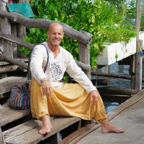 Fishermanspants Harembroek stonewash yellow Yapa