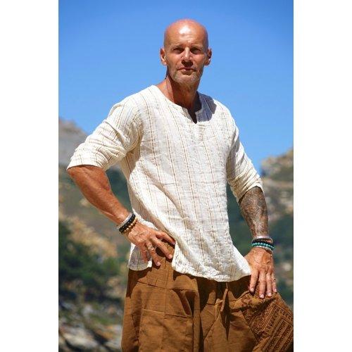 Fishermanspants Indian shirt (off-white/okergeel)