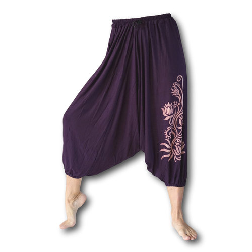 Fishermanspants Lotus yoga harembroek aubergine