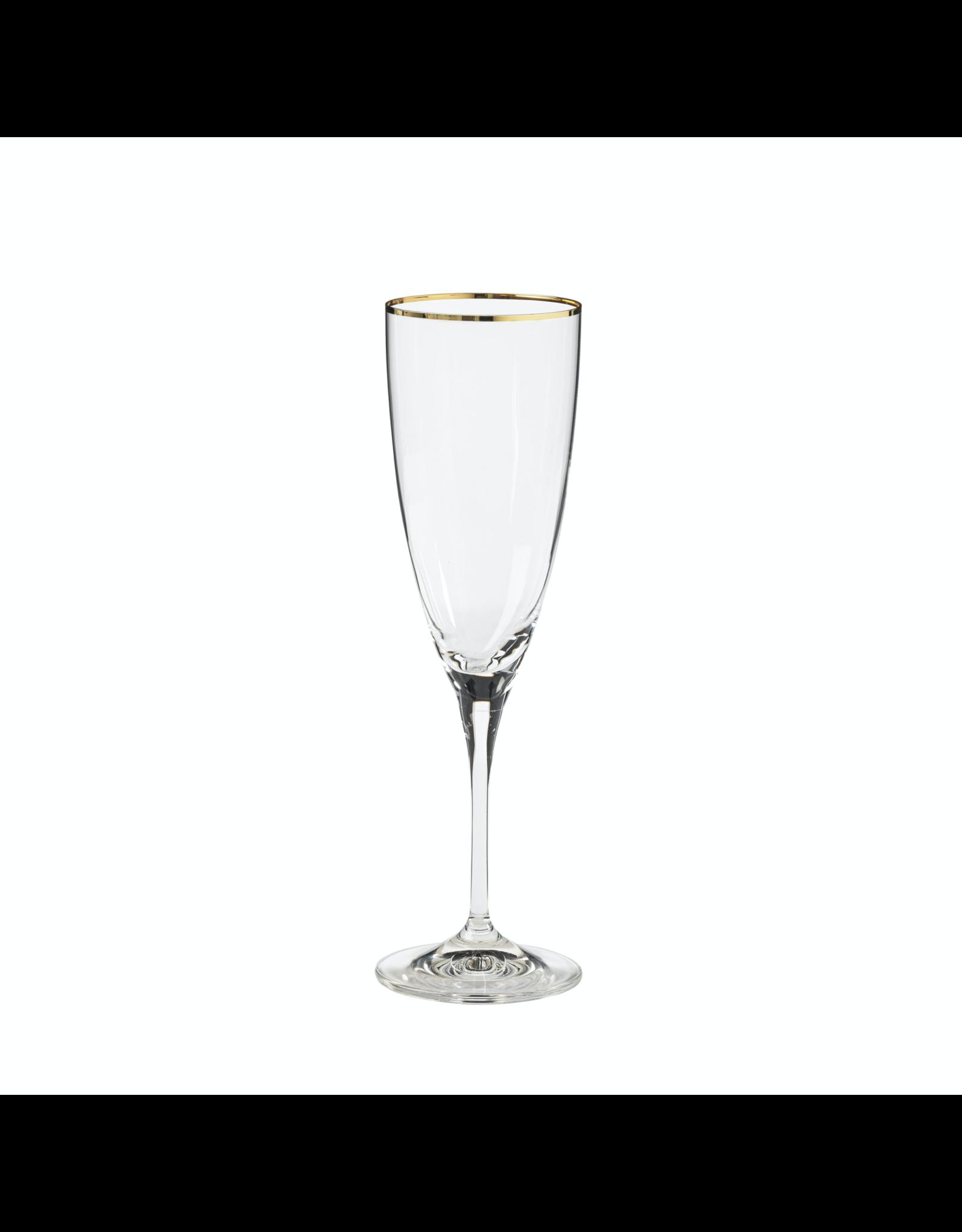 Flute 220 ml, SENSA, clear w/ golden rim