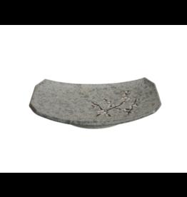 Grey Soshun Oblong Plate 22x15cm