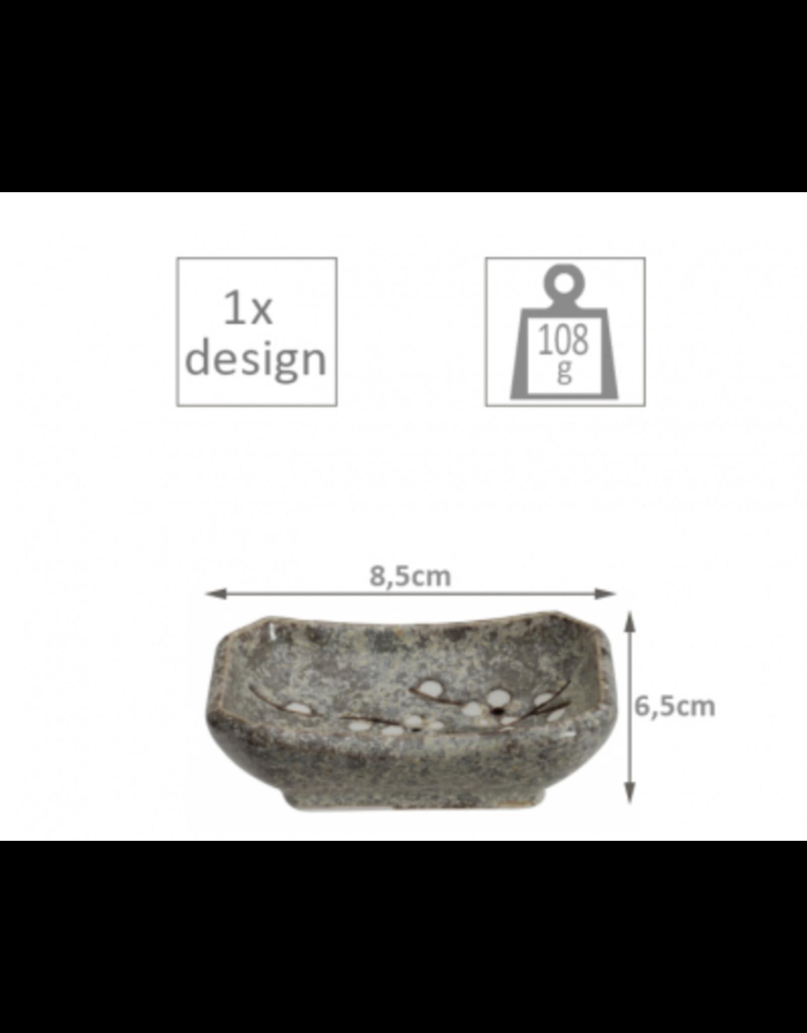 Grey Soshun Oblong Choku  plate 8.5x6.5cm